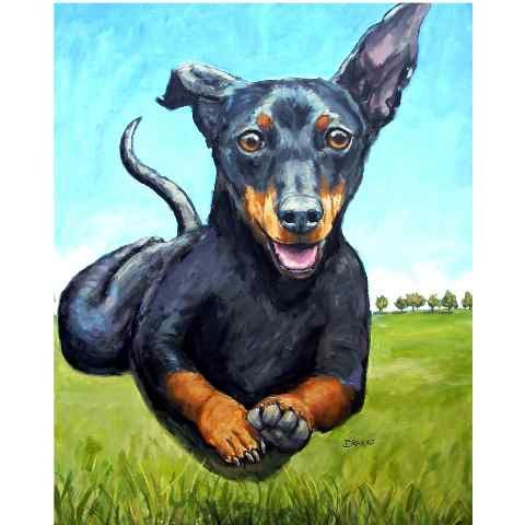 Dachshund Art Print Of Original Acrylic Painting Black