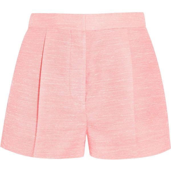 Stella McCartney Warwick slub canvas shorts ($255) ❤ liked on Polyvore featuring shorts, baby pink, high waisted pleated shorts, stella mccartney, highwaist shorts, high-waisted shorts and stella mccartney shorts