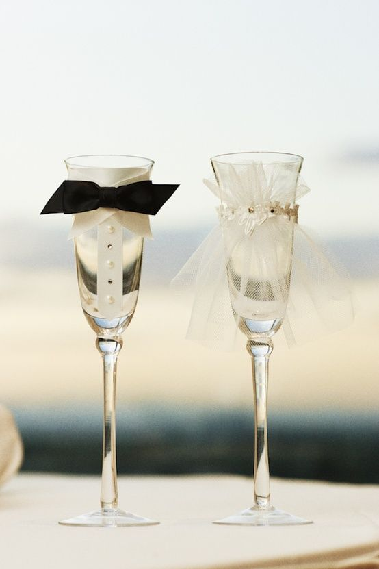 Cute groom and bride champagne glasses