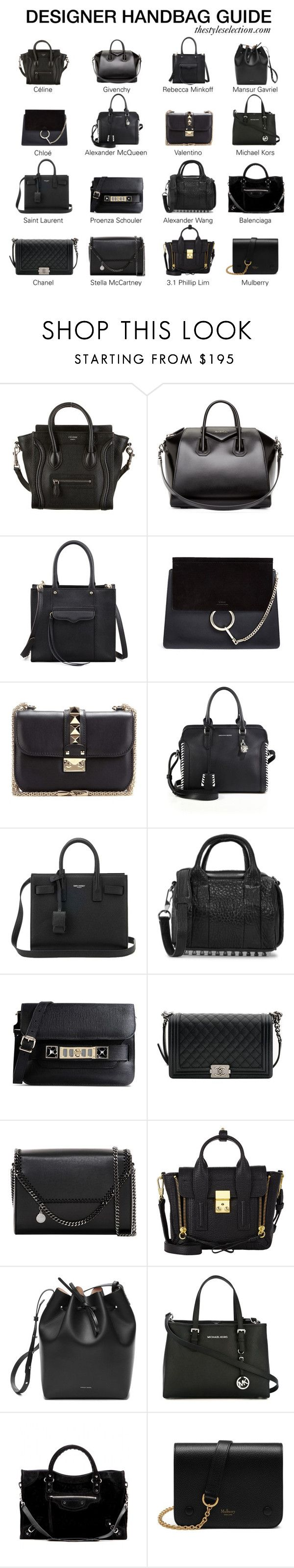 """Designer handbag guide"" by ferned ❤ liked on Polyvore featuring CÉLINE, Givenchy, Rebecca Minkoff, Chloé, Valentino, Alexander McQueen, Yves Saint Laurent, Alexander Wang, Proenza Schouler and Chanel"