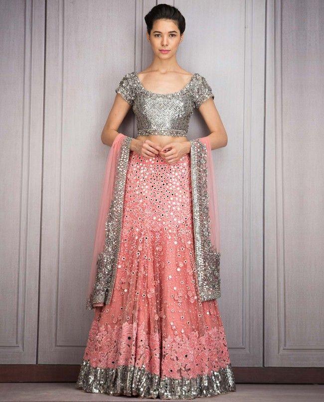 Bubblegum Pink Lengha Set with Sequins - Lehenghas - Couture - Shop Women