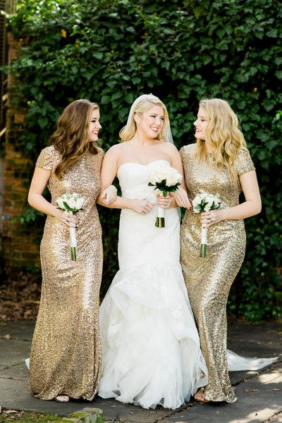 Glamorous bridesmaids dresses idea - floor-length gold sequined gowns {Erin Wilson Photography}