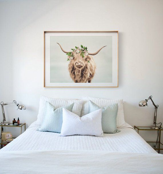 Highland Cow With Flower Crown From The Crown Prints Etsy Above Bed Decor Cow Decor Decor