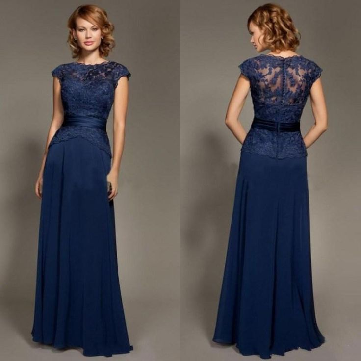dark blue scoop neckline lace chiffon cap sleeves mother of the bride dresses floor length mommy dress plus size mother of bride dress