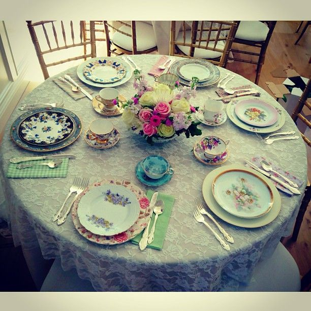 Vintage mismatched china. Photo by sugarbakerandtoad                                                                                                                                                                                 More