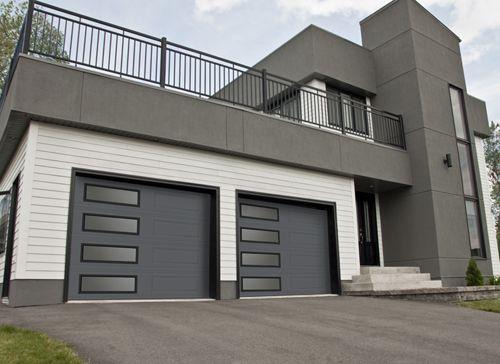 Garaga - Standard+ garage doors, model XL, Charcoal, left-side harmony   window layout