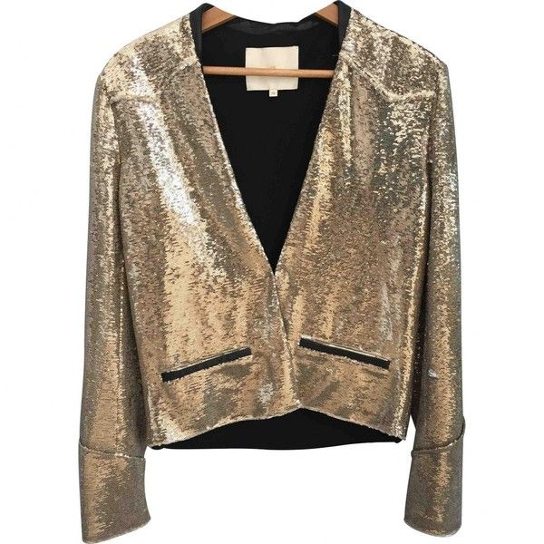 Pre-owned Maje Glitter Short Vest (20125 RSD) ❤ liked on Polyvore featuring outerwear, vests, gold, gold vest, glitter vest, brown waistcoat, maje and brown vest
