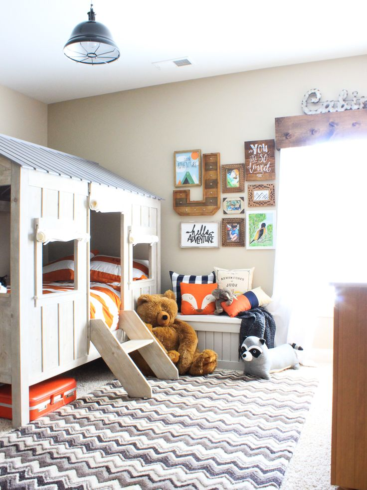 Boys bedroom- love that cute rustic bed that looks like a treehouse!