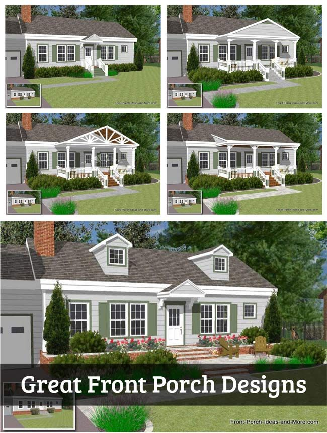 Great Front Porch Designs Illustrator on a Basic Ranch Home ... on acadian house plans with porches, brick house plans with porches, hunting lodge designs with porches, country house plans with porches, mediterranean home plans with porches, ranch home designs with basement,