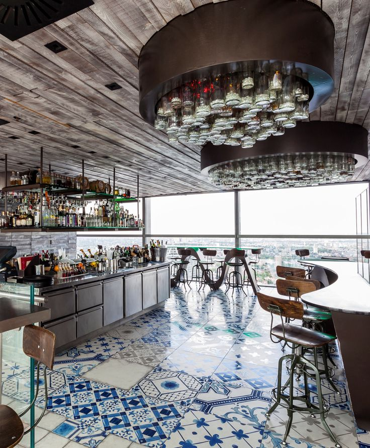 Stunning project - Mandarin Stone Palladio Blue Mix Decorative tiles - Duck and Waffle, London.