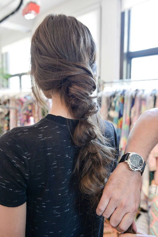 <p><strong>PINCH AND PULL:</strong> Gently loosen the finished braid by pulling out hair every few inches.</p>
