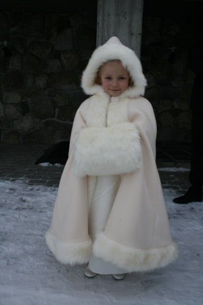 Adoralbe and warm fur trimmed hooded cape and muff. Great for flower girls in winter weddings.