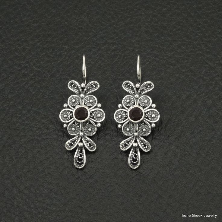NATURAL GARNET FILIGREE FLOWER STYLE 925 STERLING SILVER GREEK HANDMADE EARRINGS #IreneGreekJewelry #DropDangle