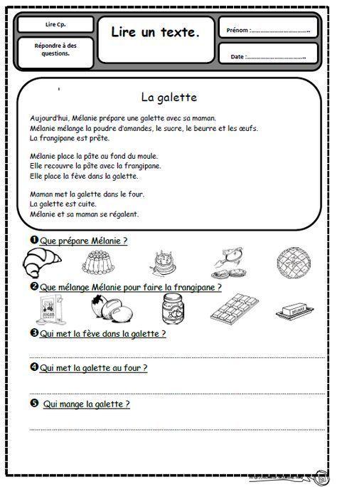 Petits textes pour travailler la lecture et la compréhension en CP, galette…