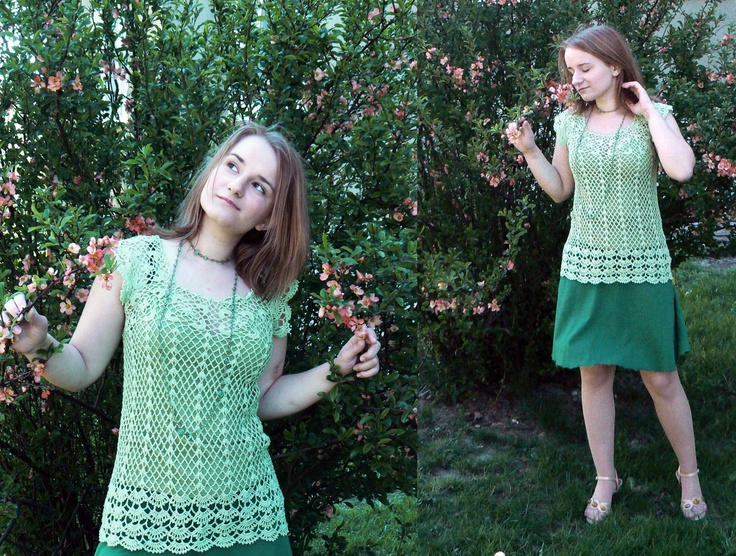 Green crochet top in the style of the 20's.