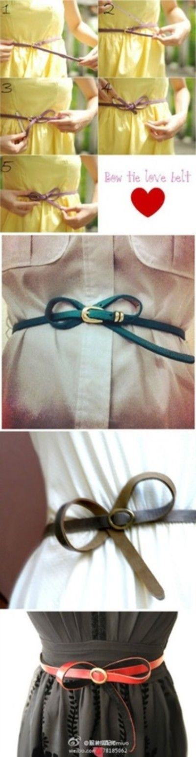 How to tie Bow Belt.  This is great, I have a few long skinny belts that I never know how to wear!