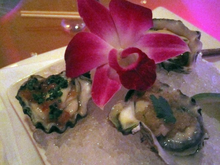 https://flic.kr/p/9JJRLZ   Morimoto: 2nd Course   Morimoto  kumamoto oysters with three sauces (japanese orange salsa, citrus cilantro ceviche & thai fish sauce with jalapeno)