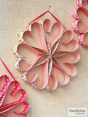 Circle of Love: Pretty paper and glue dots are all you need to make a heartwarming wreath to hang anywhere that needs a little love.
