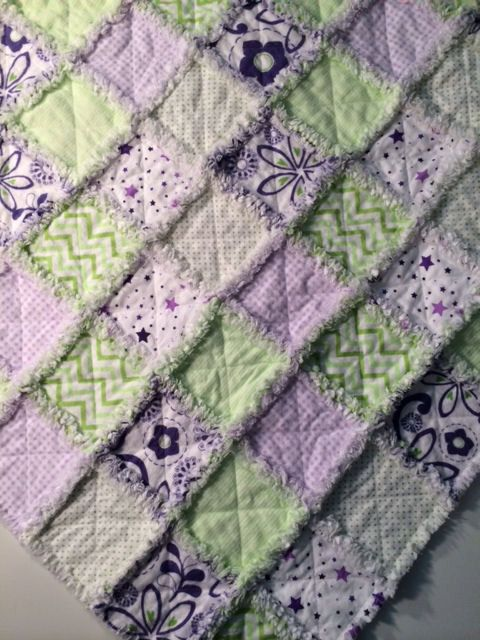Rag Quilt - Beautiful Purples and Greens by AllAboutTheDetail