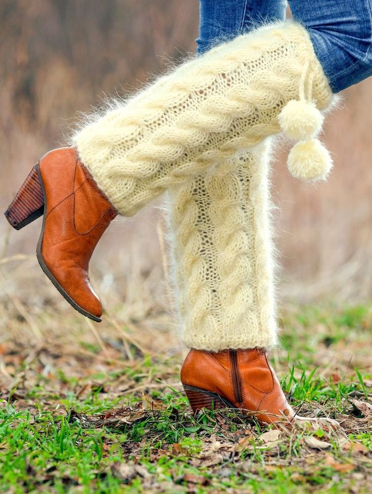 SUPERTANYA Hand knitted mohair spats fuzzy cable knit gaiters IVORY leg warmers #SuperTanya #Casual