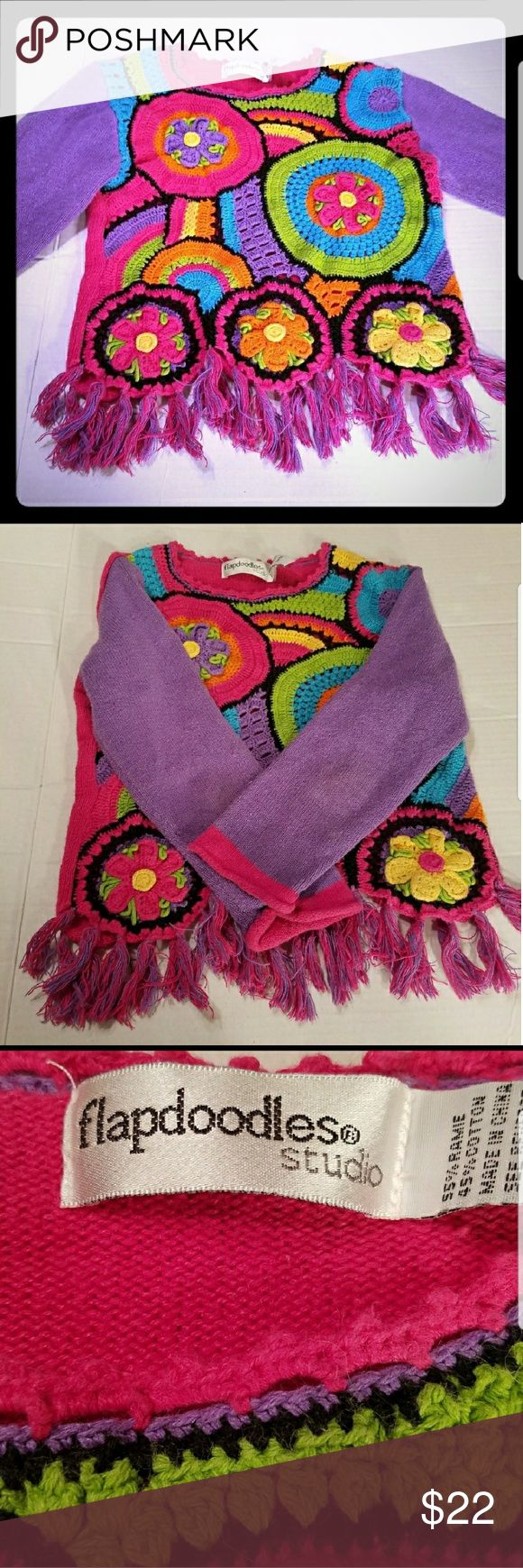 "Flapdoodles Girls Size 6X Crochet Sweater Girls Flapdoodles Hippy Boho Crochet Cotton Ramie Sweater Fringed scalloped bottom  Chest flat 14"" Length 15..."