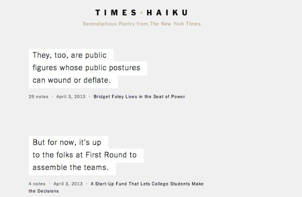 Times Haiku, Il nuovo esperimento del New York Times per incrementare e invogliare alla lettura
