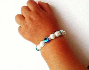 Baby talisman evil eye protecting bracelet, Baby baptism bracelet,Hamsa bracelet,Lucky charm baby bracelet