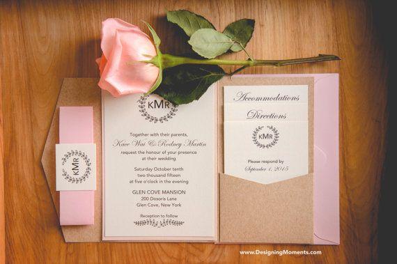 Rustikale Hochzeit Pocketfold Suite - Luxus Monogramm und Laurel Hochzeit Einladung Suite - elegante Hochzeitseinladung - Land Hochzeit Beispiel