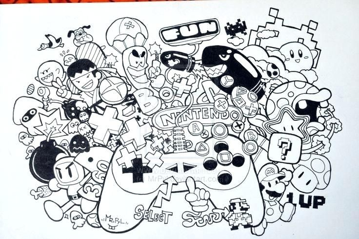 Nintendo Coloring Pages Doodle Invasion Coloring Book Para Google Free Printable Nintendo Coloring Pages Graffiti Doodles Doodle Art Designs Doodle Art Drawing