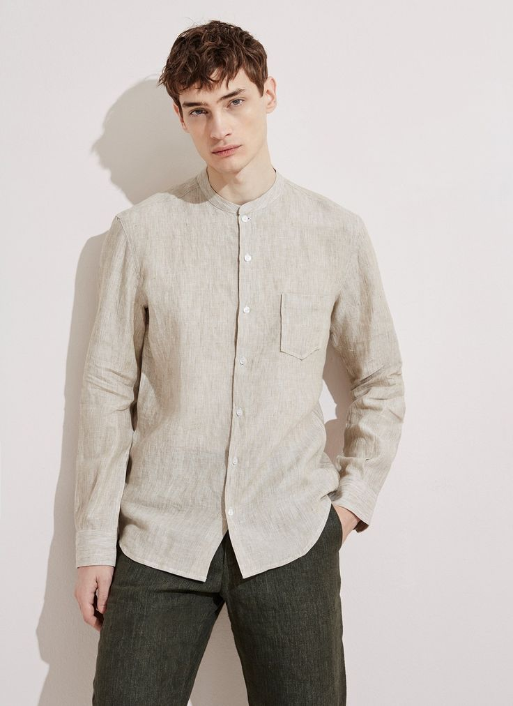 Washed Linen Shirt with Mao Collar - Shirts | Adolfo Dominguez shop online