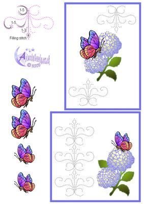 Hydrangea Card Front on Craftsuprint designed by Diana Hutchinson - A stitching pattern (or piercing) card front in two sizes with Hydrangeas and butterfly decoupage. - Now available for download!