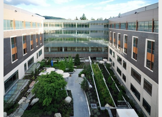 Swedish Hospital in Issaquah, Washington is very energy efficient, and keeps it's green focus on the central atrium.