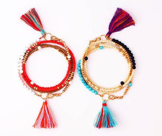 Wrap Armband mit Perlen Armband, Mala Armband, Quaste, Yoga-Schmuck  Dieses Angebot gilt für eine Packung Armband in Ecru / Gold mit runder