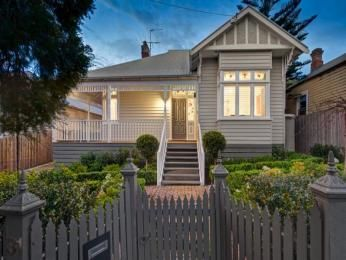 Weatherboard edwardian house exterior with balustrades & hedging - House…