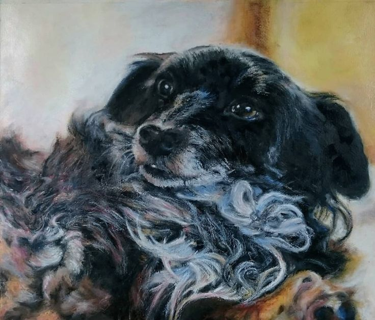 Done! Acrylics and oil pastel on paper. This is Nelly one of 5 little dogs I found abandoned in a park in Thessaloniki Greece. She was in a terrible state malnourished filthy and a nervous wreck. She now lives with my mother in the UK. Over the last 4 years she has transformed into a beautiful faithful and loving companion for my 91 yr old mum. Don't buy puppies adopt a rescue.