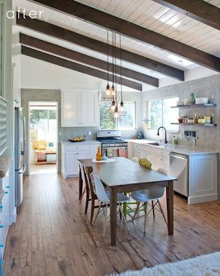 Exposed beams + white beadboard ceiling. Painting the wood, not the beams. Also paint the wood the runs along the end of the beams