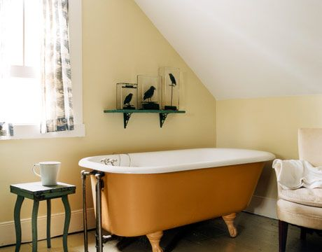 1000 images about colored claw foot tubs on pinterest for Tangerine bathroom ideas