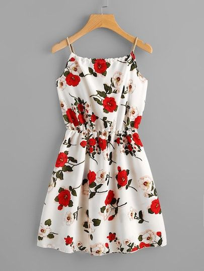 Incredibly Braided Strap Tie Back Floral Cami Dress