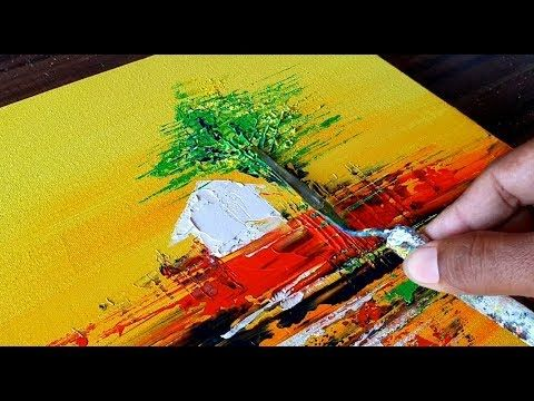 Simple Abstract Painting / Landscape / Relax / Demonstration in Acrylic / Project 365 Days / Day # 236 – YouTube