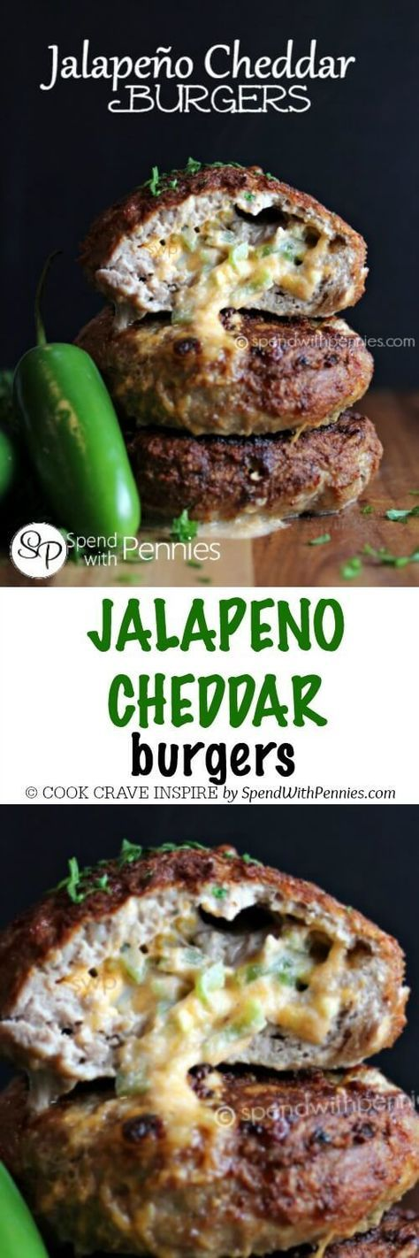 Jalapeno Cheddar Burgers! These are amazing with turkey or beef and can easily be broiled in the oven or grilled!: