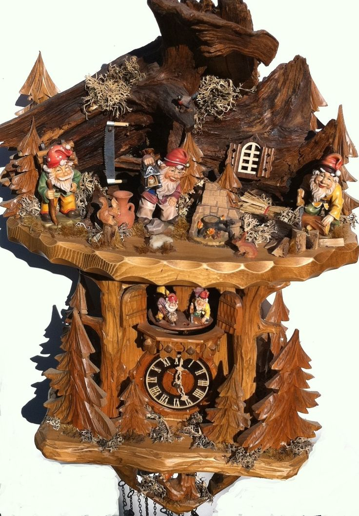 BLACK FOREST MASTER CARVERS WOODLAND KNOMES CUCKOO CLOCK ON OFFER | eBay