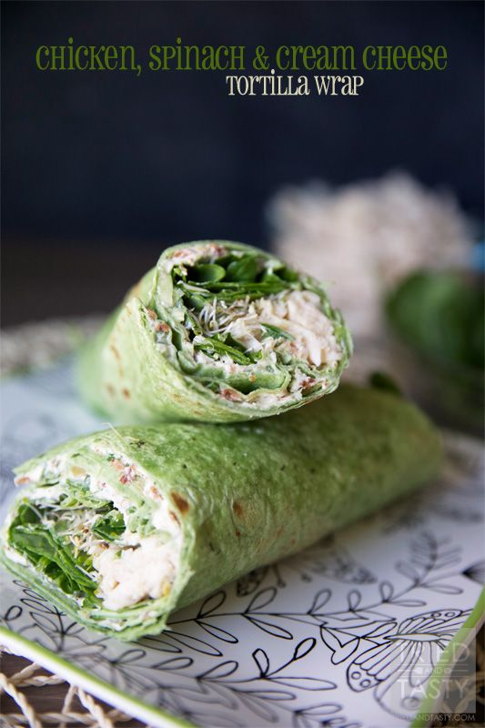 Chicken, Spinach & Cream Cheese Tortilla Wrap // Looking for 30 minute meals? This wrap is so easy with the help of a pre-cooked rotisserie chicken. Healthy and delicious, perfect for the whole family. Perfectly portioned for a low calorie lunch or dinner! | Tried and Tasty