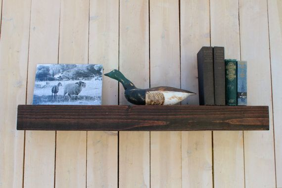 Wood - Floating Wall Shelf - Farmhouse Chic - Shelves - Wooden Shelving - 40 Inches x 7 inches deep.