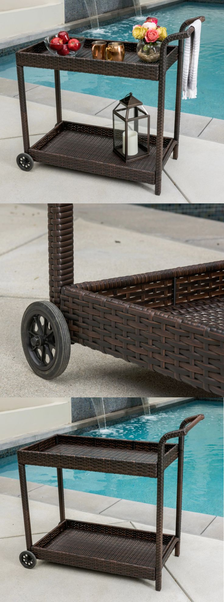 Bar Carts and Serving Carts 183320: Mini Bar Cart Outdoor Rolling Modern Portable Brown Wicker Patio Pool Furniture -> BUY IT NOW ONLY: $103.99 on eBay!