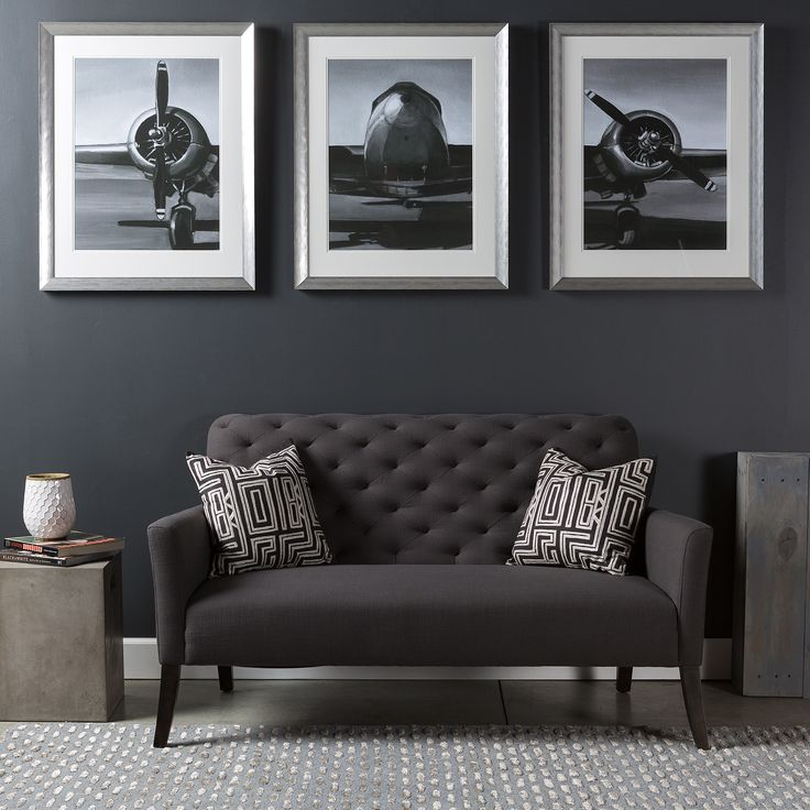 Triptych wall art piece with a modern industrial flare; a series of three photographs of a vintage plane. By Surya. (LJ-4068, LJ-4069, LJ-4070)