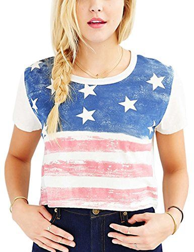 702087a236666e Perfashion Women s Cropped Tops Shirt USA Flag Print Short Sleeves -  patriotic tops women   Show how proud you are of our beautiful country with  women ...