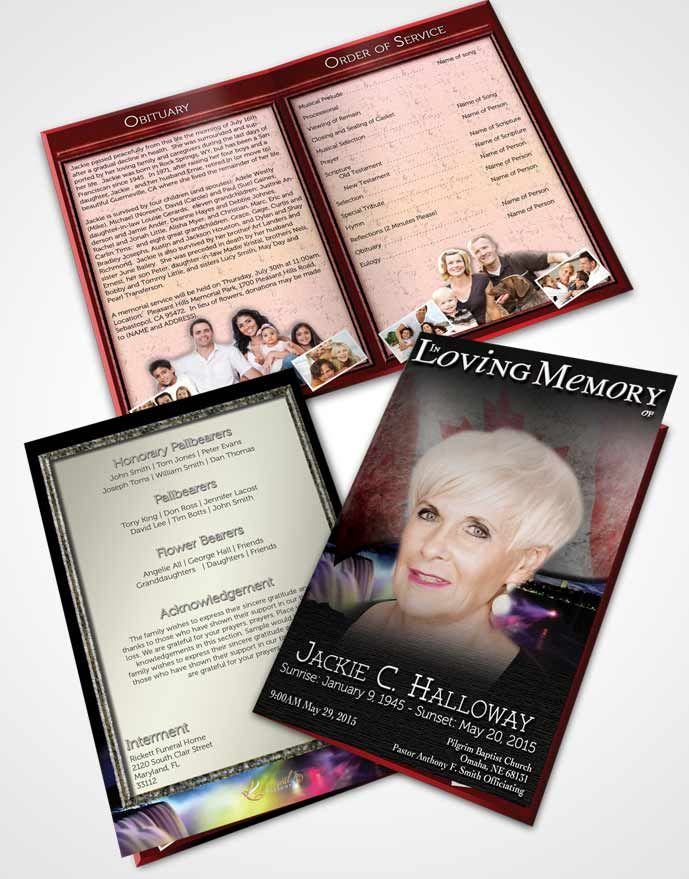 Bifold Order of Service Obituary Template Brochure Canadian Natural