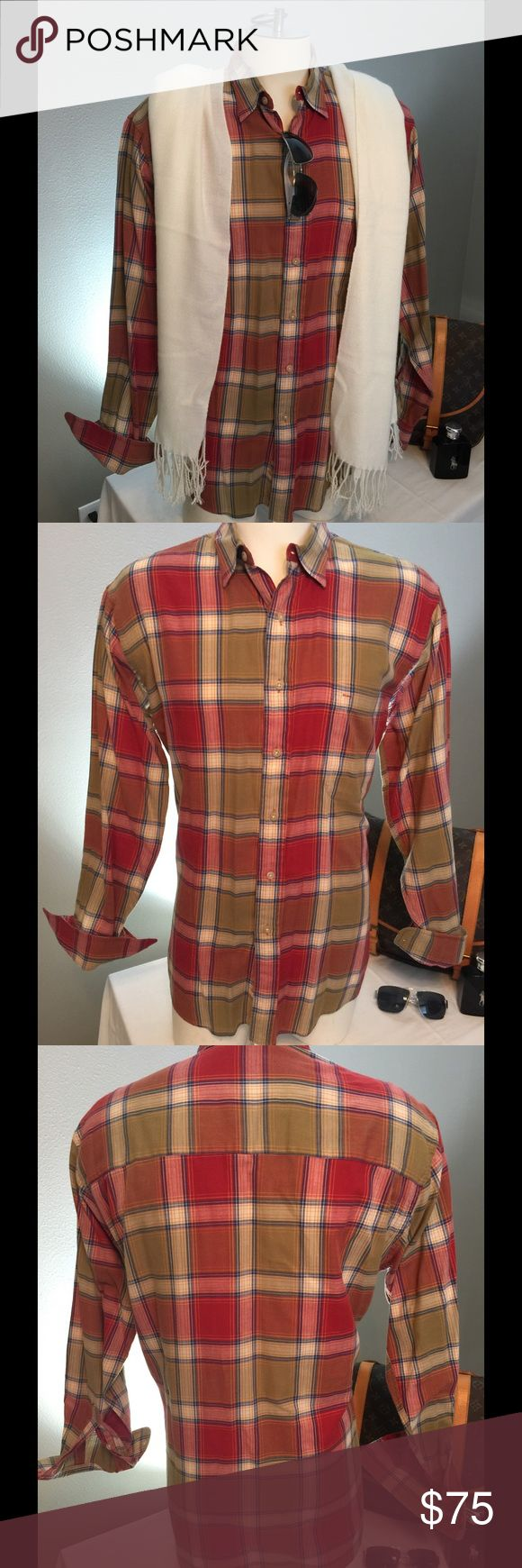Burberry's Men's Large. Nice plaid. Feels a little more on the flannel side and Texas is just too hot for this. Great looking Shirt though. Burberry Shirts Casual Button Down Shirts