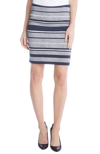 Main Image - Karen Kane Stripe Jacquard Pencil Skirt