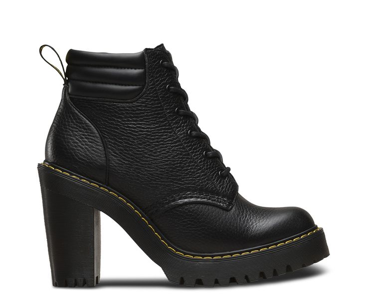 Taking Dr. Martens rebellious style to new heights, the Persephone heeled ankle boot features a DM's branded heel-loop, pebbled Aunt Sally Leather upper and comfortable padded ankle. A chunky rubber sole with heavy tread — a nod to our iconic boots — completes the Persephone heeled shoe. These tough heels are as fashionable as they are bad ass. Heel height is 4 and platform is 1.
